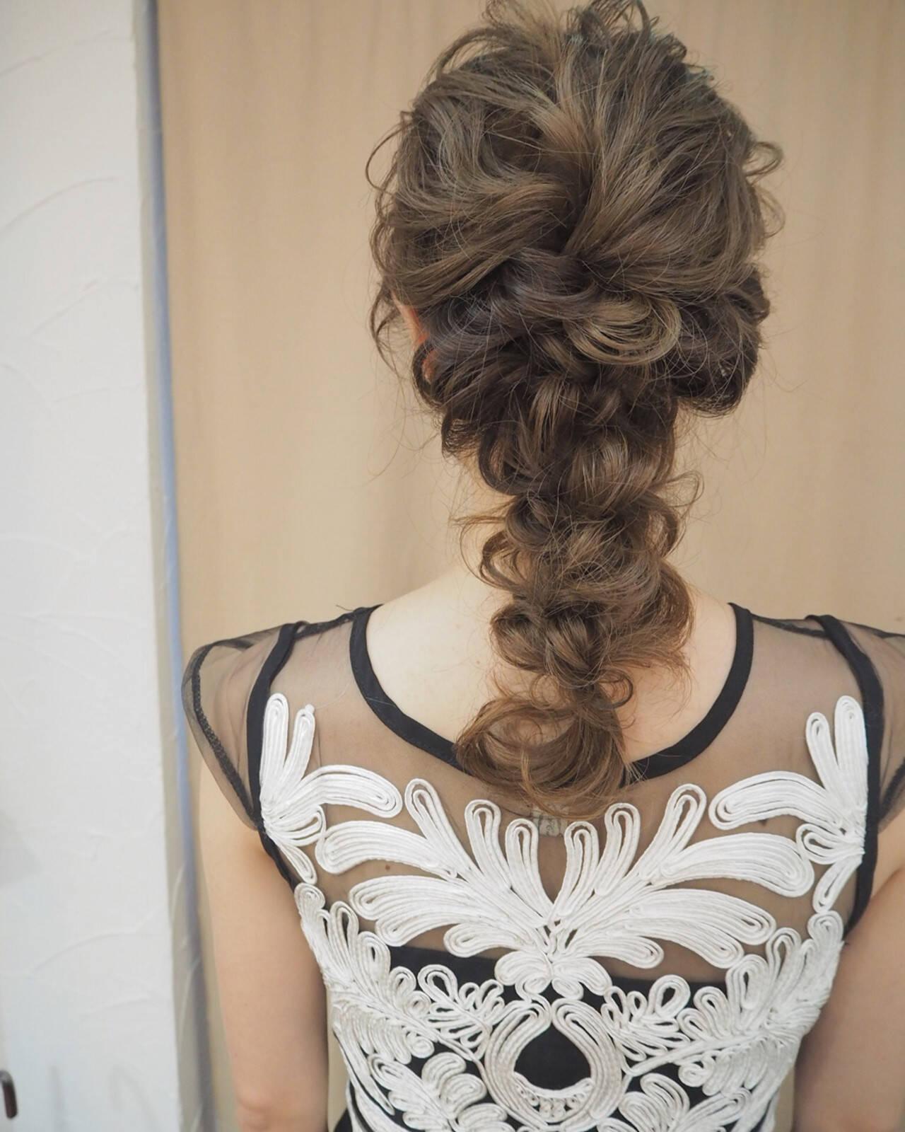 結婚式 ヘアアレンジ ナチュラル ロングヘアスタイルや髪型の写真・画像