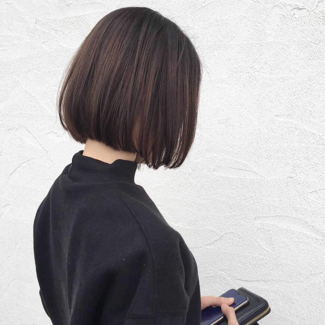 ナチュラル ミニボブ オフィス 大人可愛いヘアスタイルや髪型の写真・画像