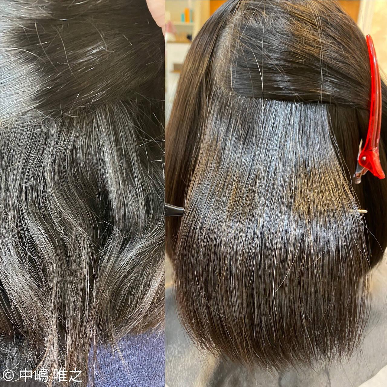 ナチュラル ボブ 髪質改善 切りっぱなしボブヘアスタイルや髪型の写真・画像