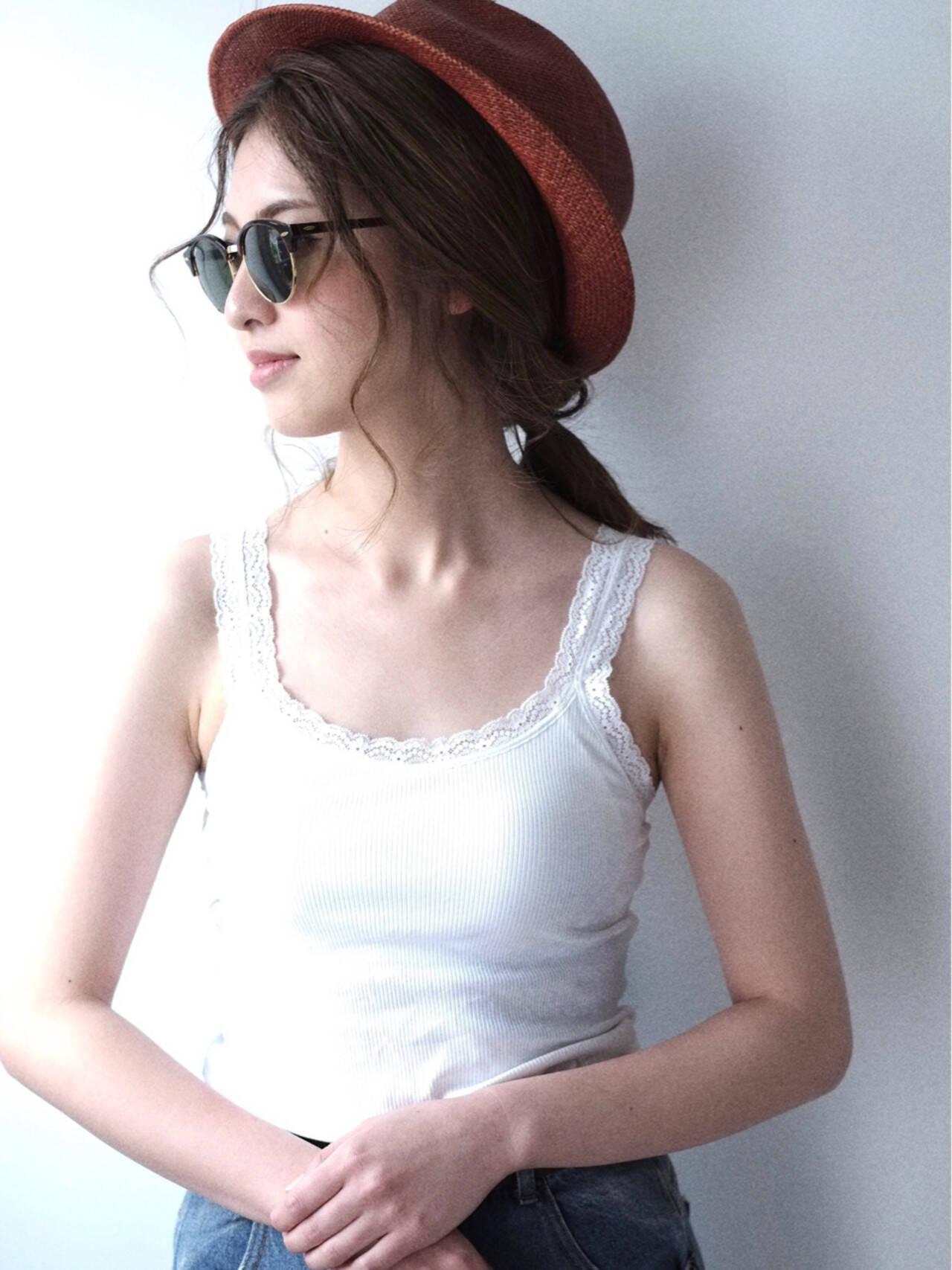ミディアム 簡単ヘアアレンジ 外国人風 ヘアアレンジヘアスタイルや髪型の写真・画像