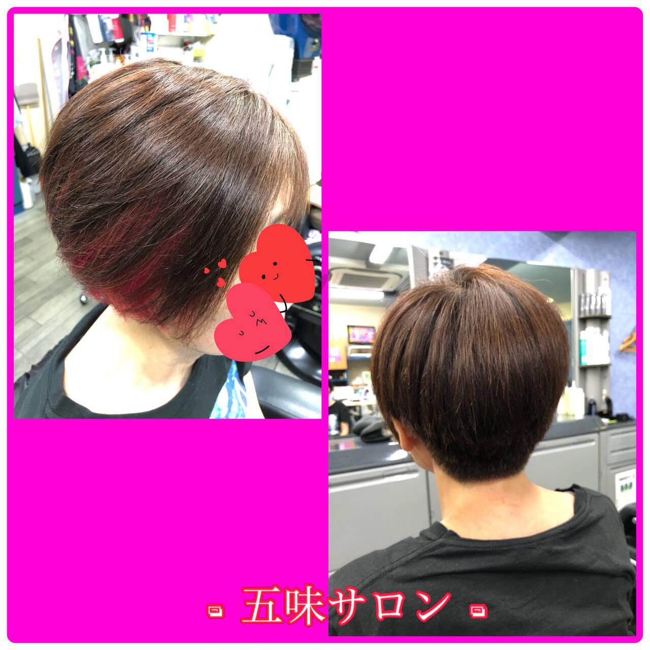 インナーカラー ナチュラル ショートヘア イヤリングカラーピンクヘアスタイルや髪型の写真・画像