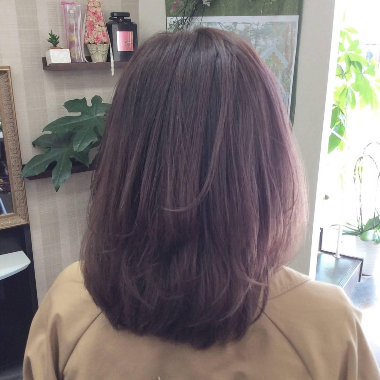 ラベンダーカラー ラベンダーグレージュ ナチュラル ラベンダーヘアスタイルや髪型の写真・画像