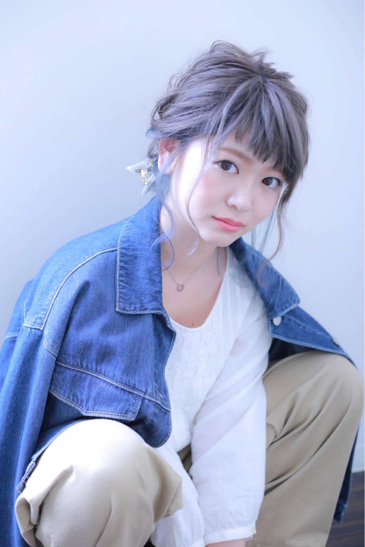 グレーアッシュ 外国人風カラー インナーカラー ダブルカラーヘアスタイルや髪型の写真・画像