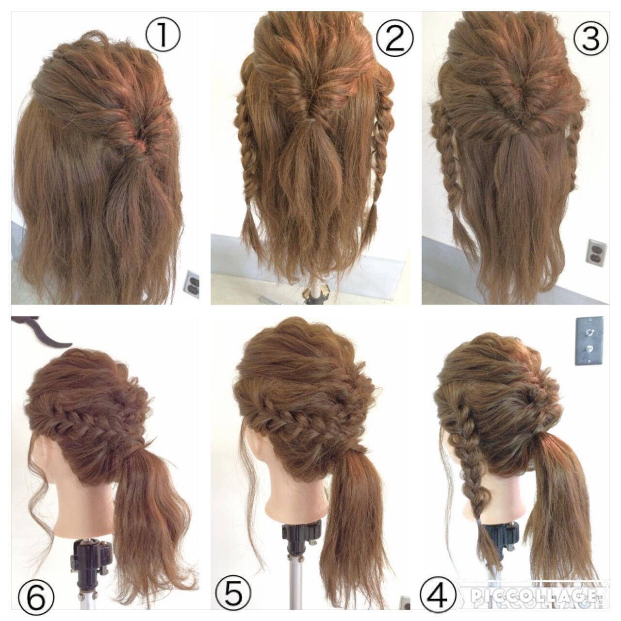 くるりんぱ ポニーテール セミロング 三つ編みヘアスタイルや髪型の写真・画像