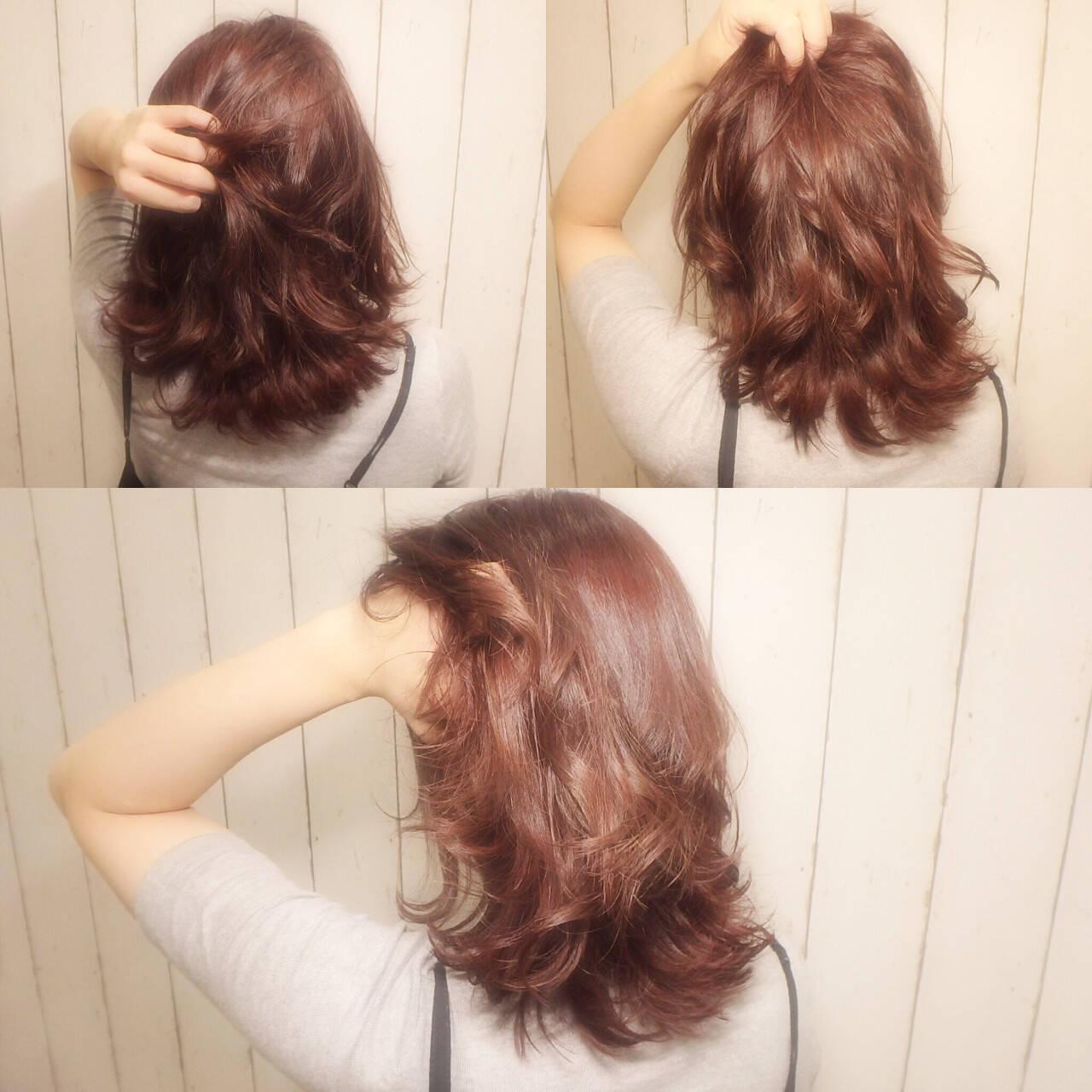 ニュアンス セミロング ピンク レイヤーカットヘアスタイルや髪型の写真・画像
