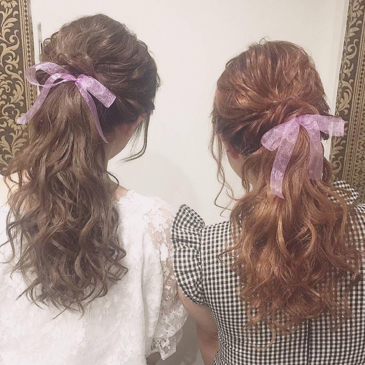 ガーリー デート ポニーテール 女子会ヘアスタイルや髪型の写真・画像