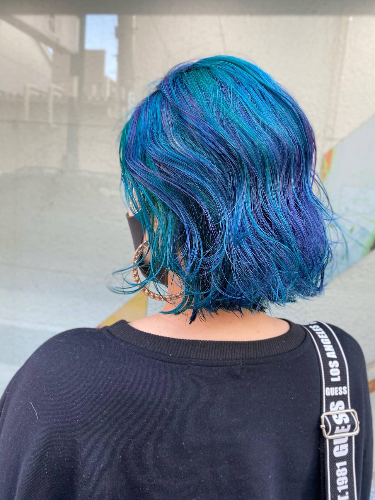 甘辛MIX セミロング ブルーグラデーション アッシュバイオレットヘアスタイルや髪型の写真・画像