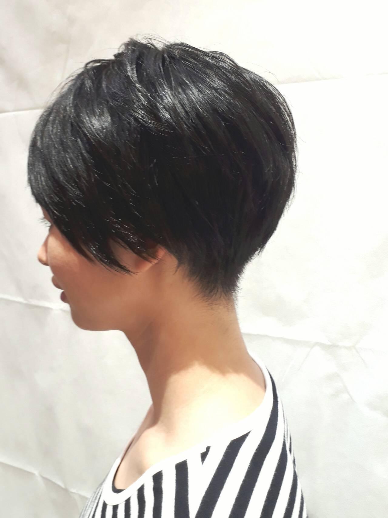 簡単 耳かけ ナチュラル 黒髪ヘアスタイルや髪型の写真・画像