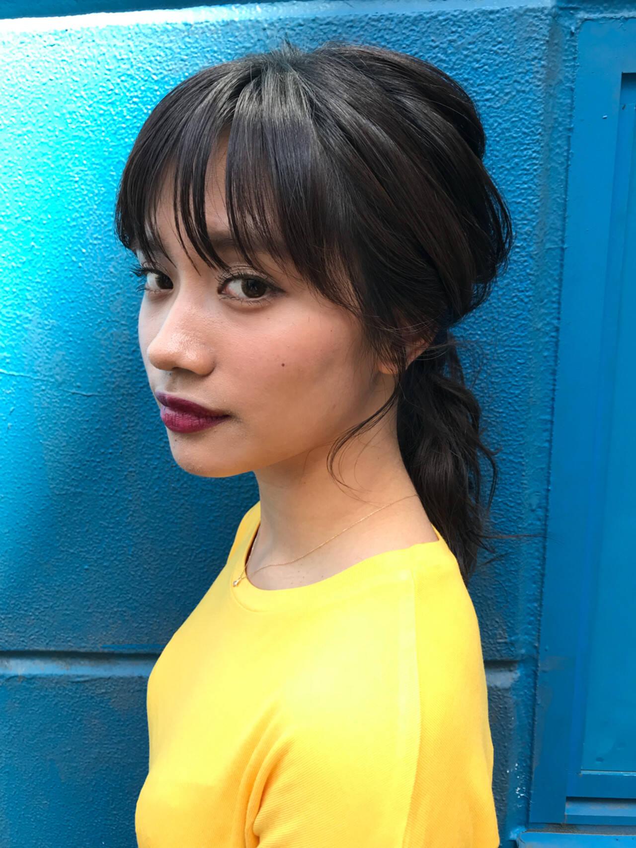 ポニーテール ヘアアレンジ ローポニーテール セミロングヘアスタイルや髪型の写真・画像