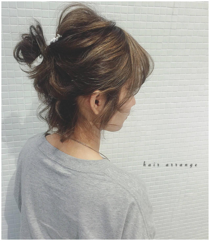 ヘアアレンジ ボブ お団子 簡単ヘアアレンジヘアスタイルや髪型の写真・画像