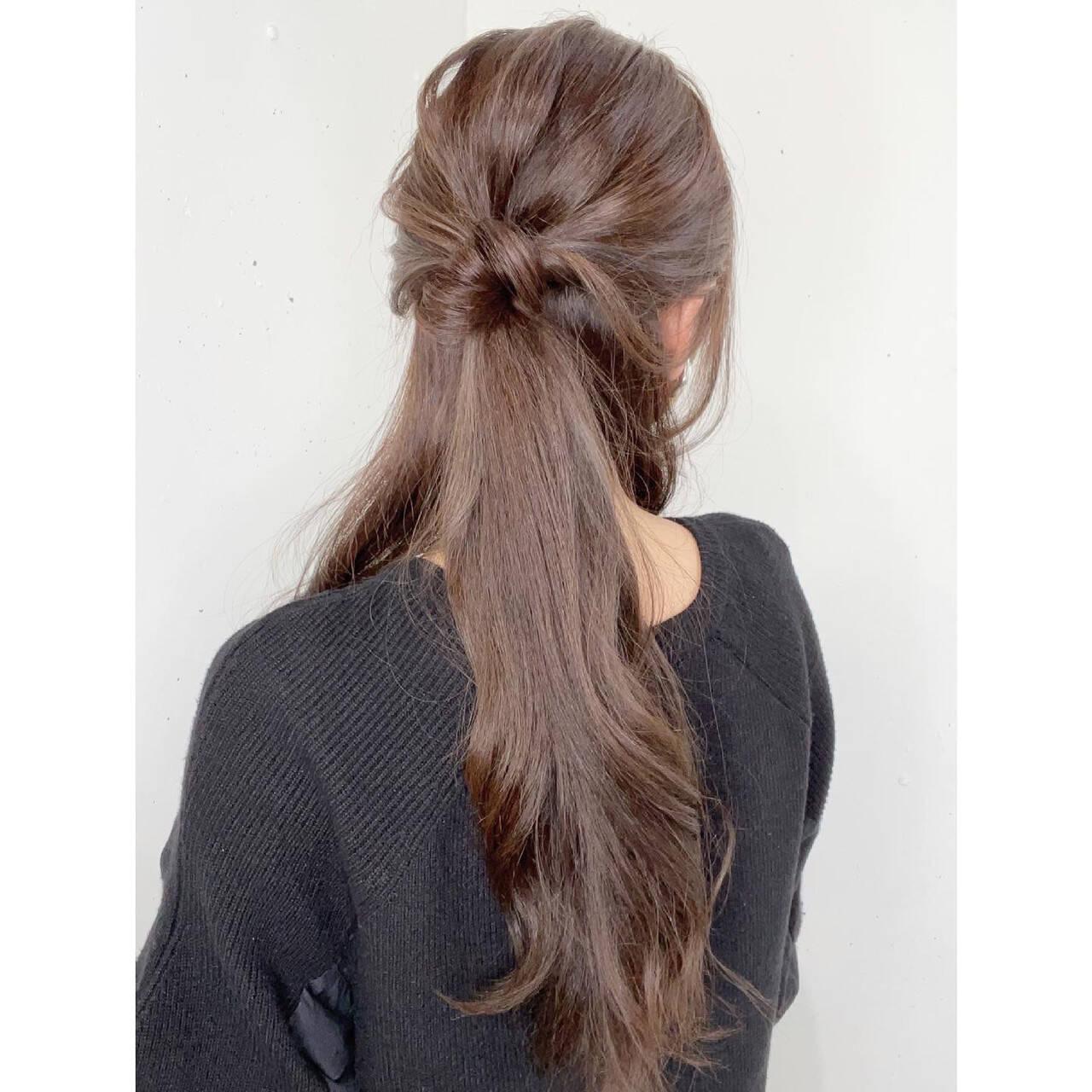 ナチュラル 簡単ヘアアレンジ セルフアレンジ ロングヘアスタイルや髪型の写真・画像