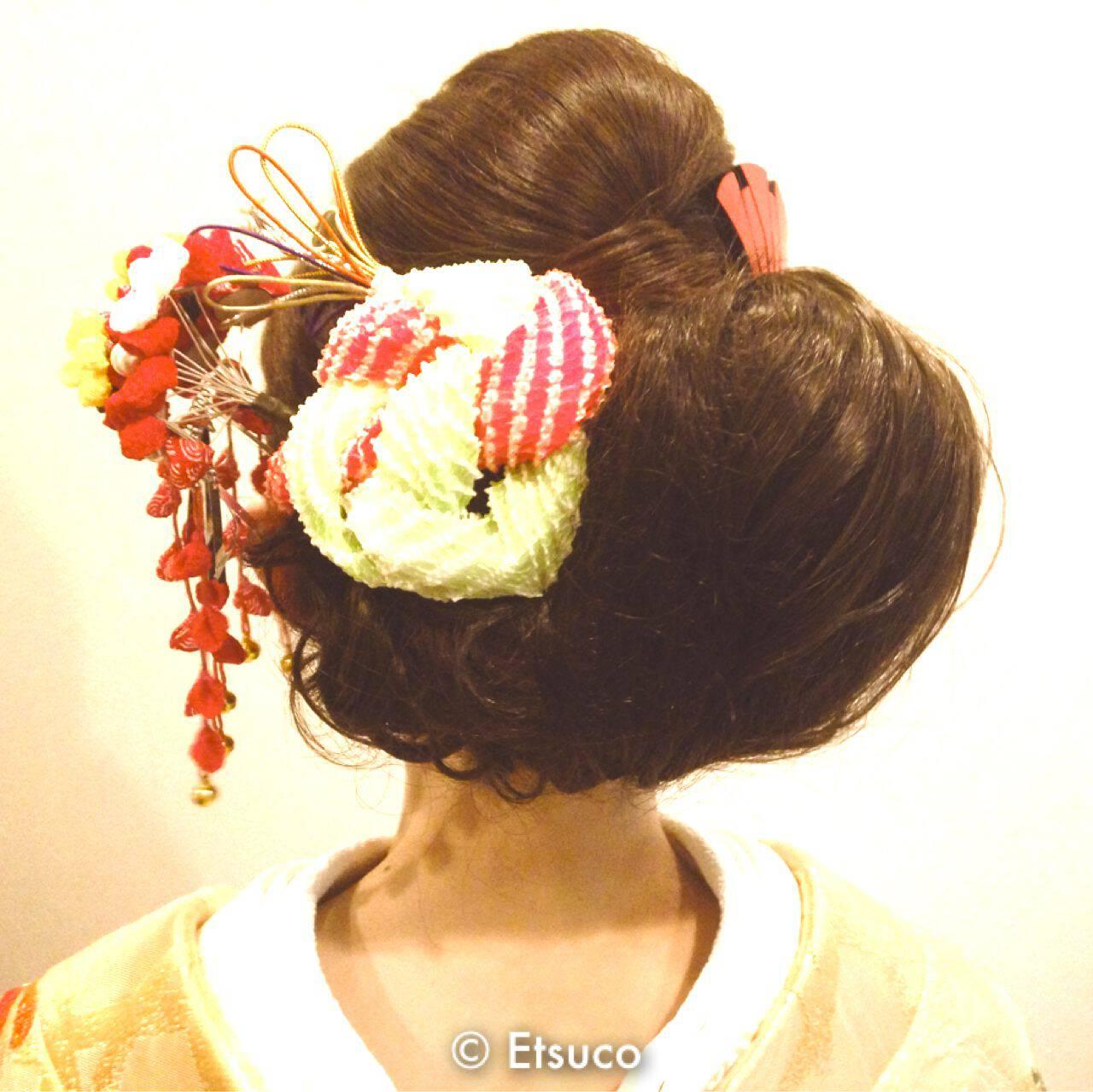 ヘアアレンジ 卵型 花嫁 和装ヘアスタイルや髪型の写真・画像