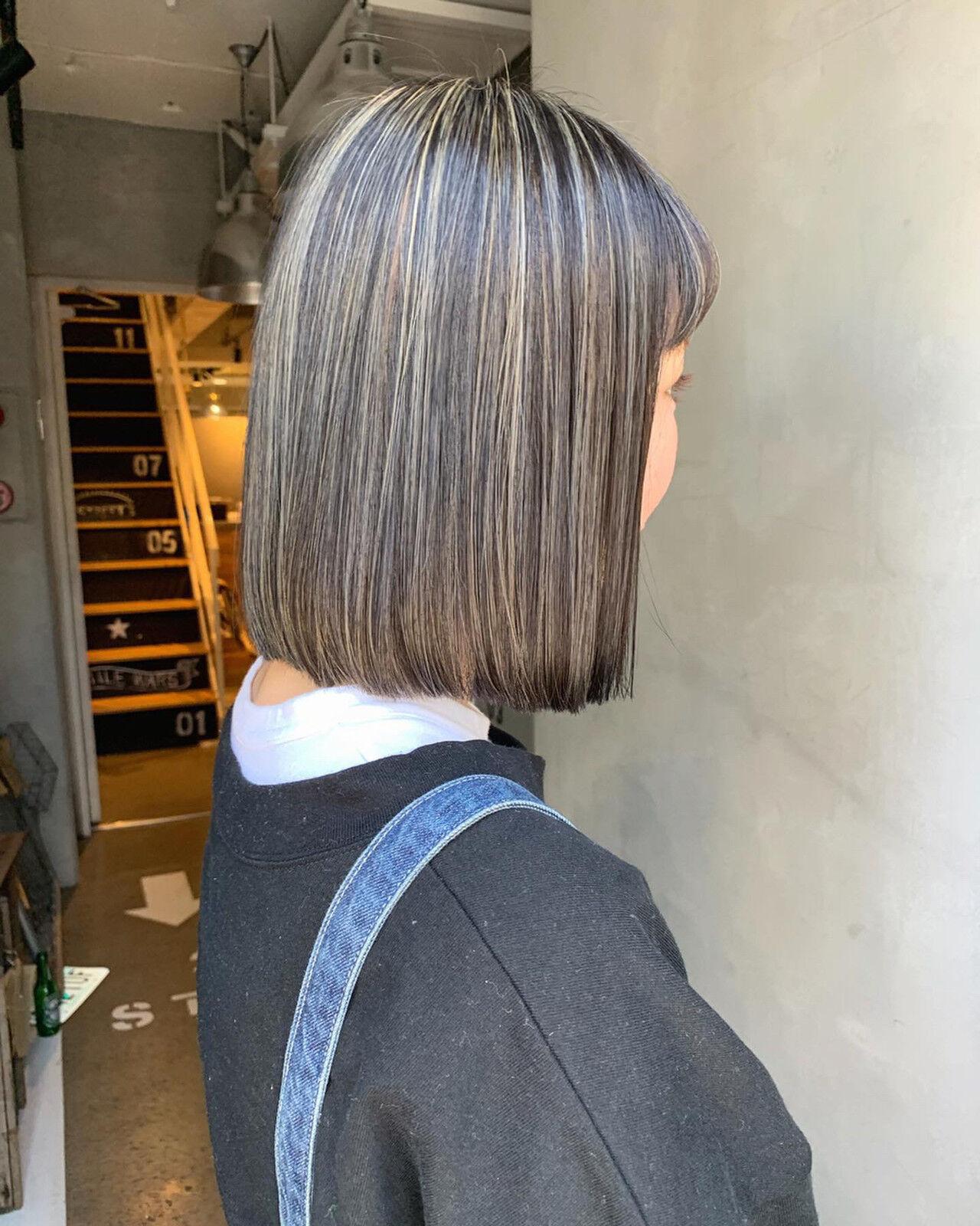 ハイライト ブルージュ グレージュ ストリートヘアスタイルや髪型の写真・画像