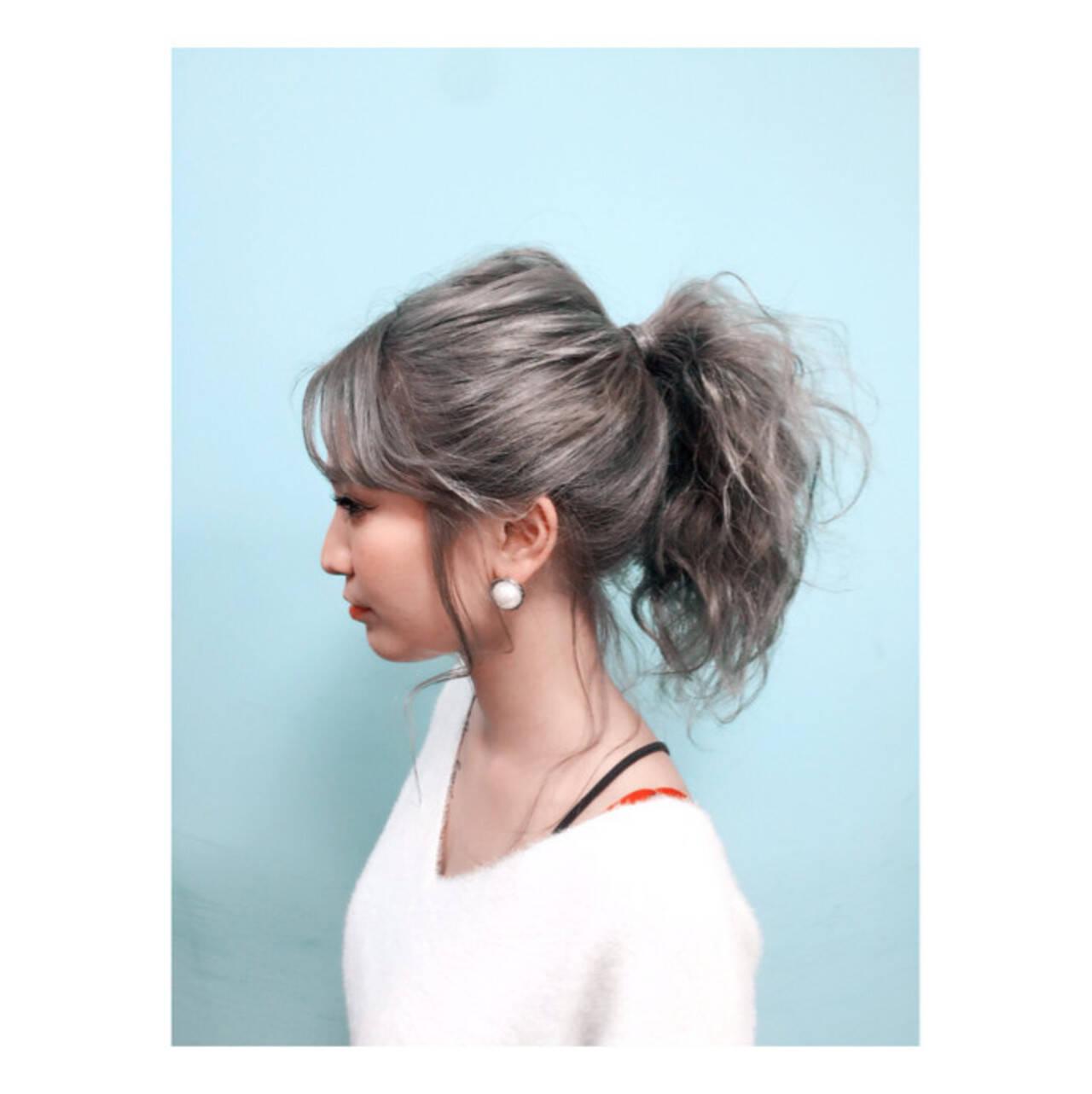 外国人風 夏 アッシュ ヘアアレンジヘアスタイルや髪型の写真・画像