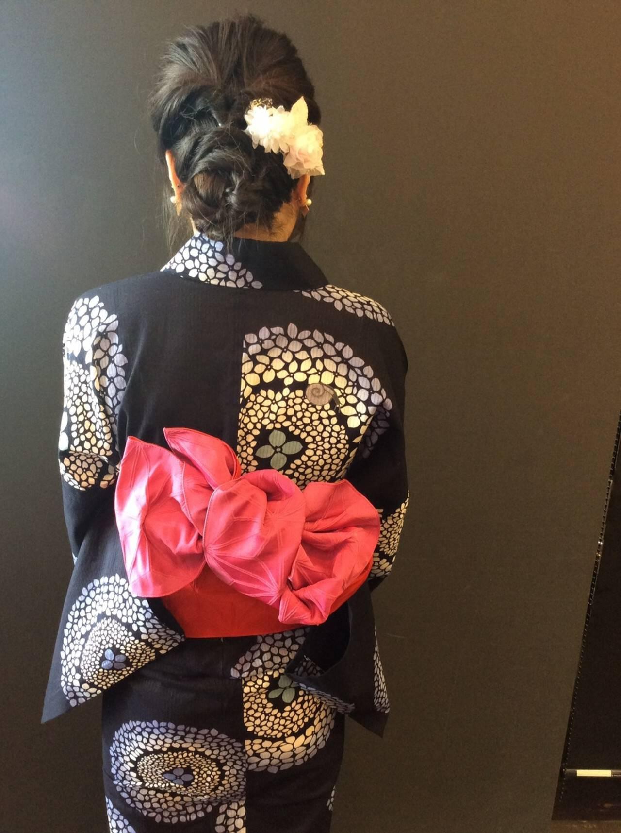 フェミニン お祭り 夏 花火大会ヘアスタイルや髪型の写真・画像