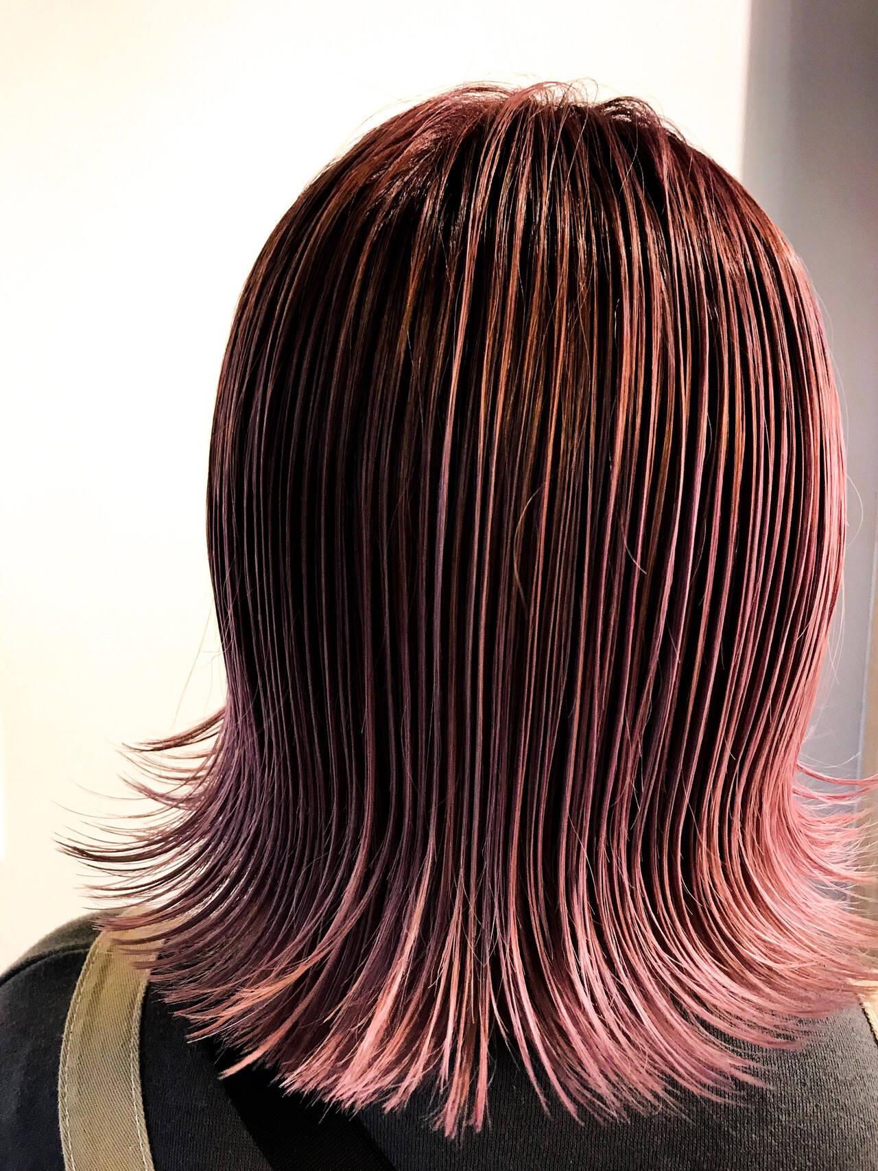 ボブ ピンクラベンダー ストリート ピンクアッシュヘアスタイルや髪型の写真・画像