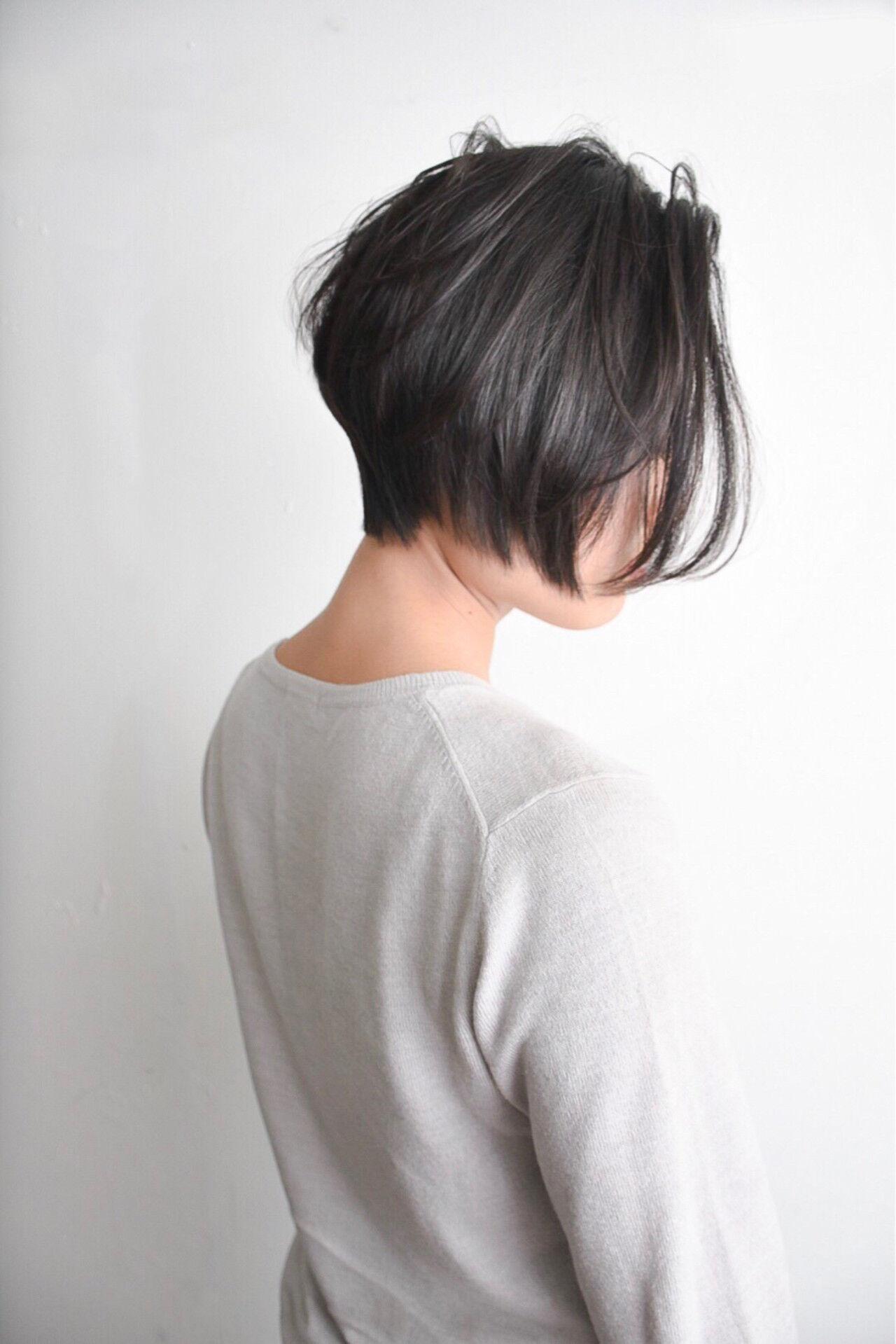 ショートボブ ボブ ショート ナチュラルヘアスタイルや髪型の写真・画像