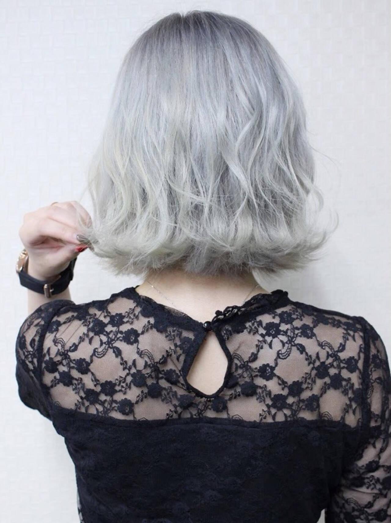 外ハネボブ エレガント 波ウェーブ 外国人風ヘアスタイルや髪型の写真・画像