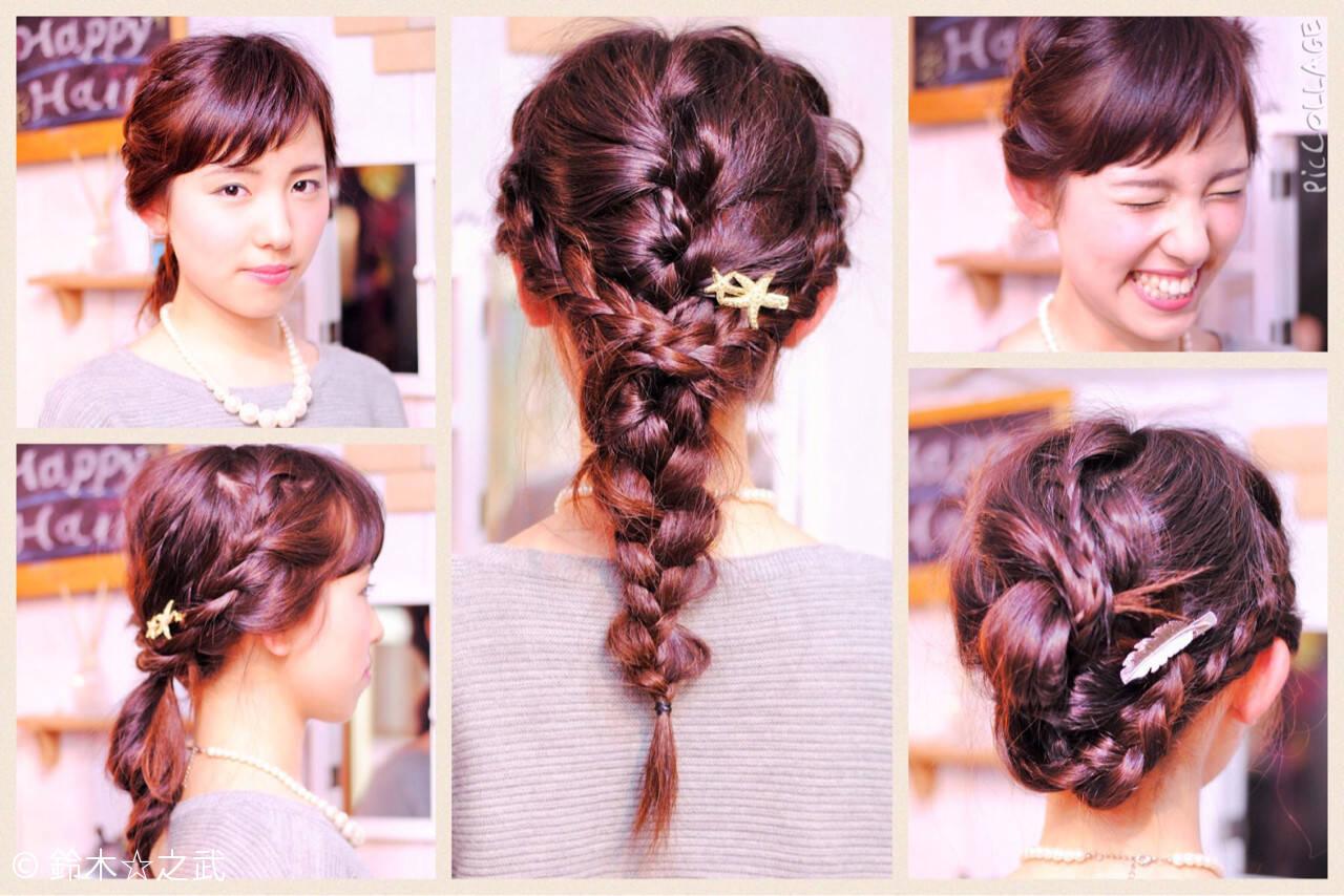 セミロング ナチュラル 裏編み込み 編み込みヘアスタイルや髪型の写真・画像