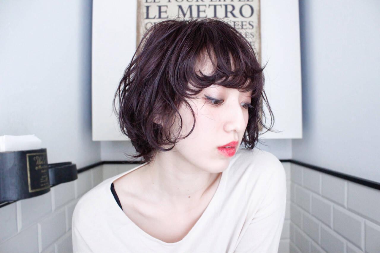 ショートボブ ショート ナチュラル ニュアンスヘアスタイルや髪型の写真・画像
