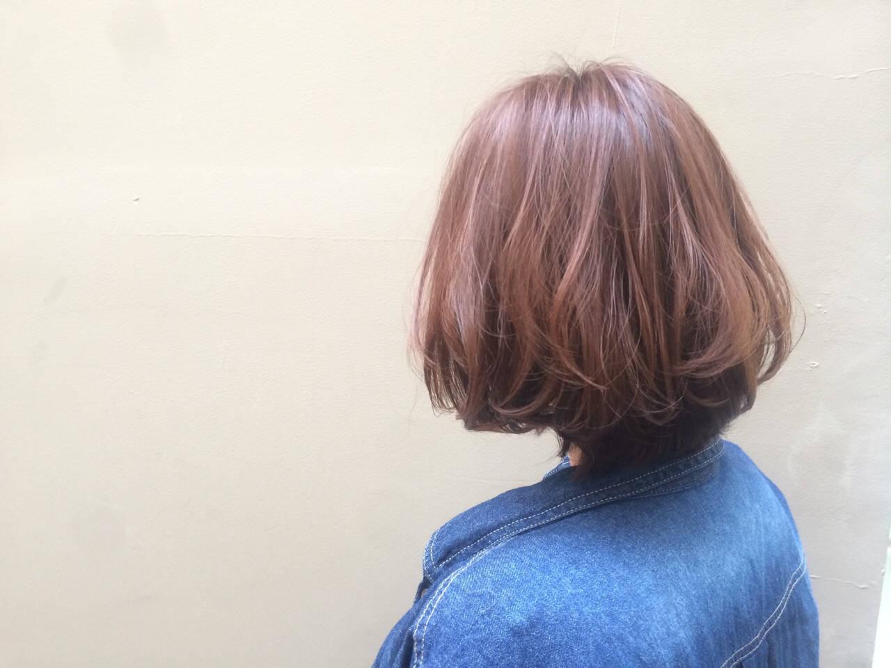 ナチュラル イルミナカラー ボブ 艶髪ヘアスタイルや髪型の写真・画像
