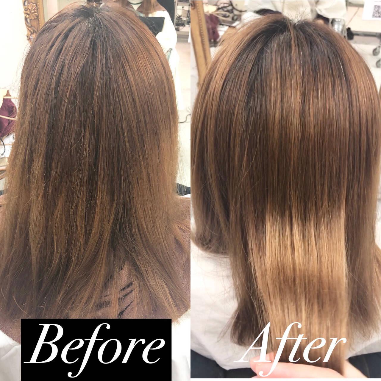髪質改善 髪質改善トリートメント 縮毛矯正 セミロングヘアスタイルや髪型の写真・画像