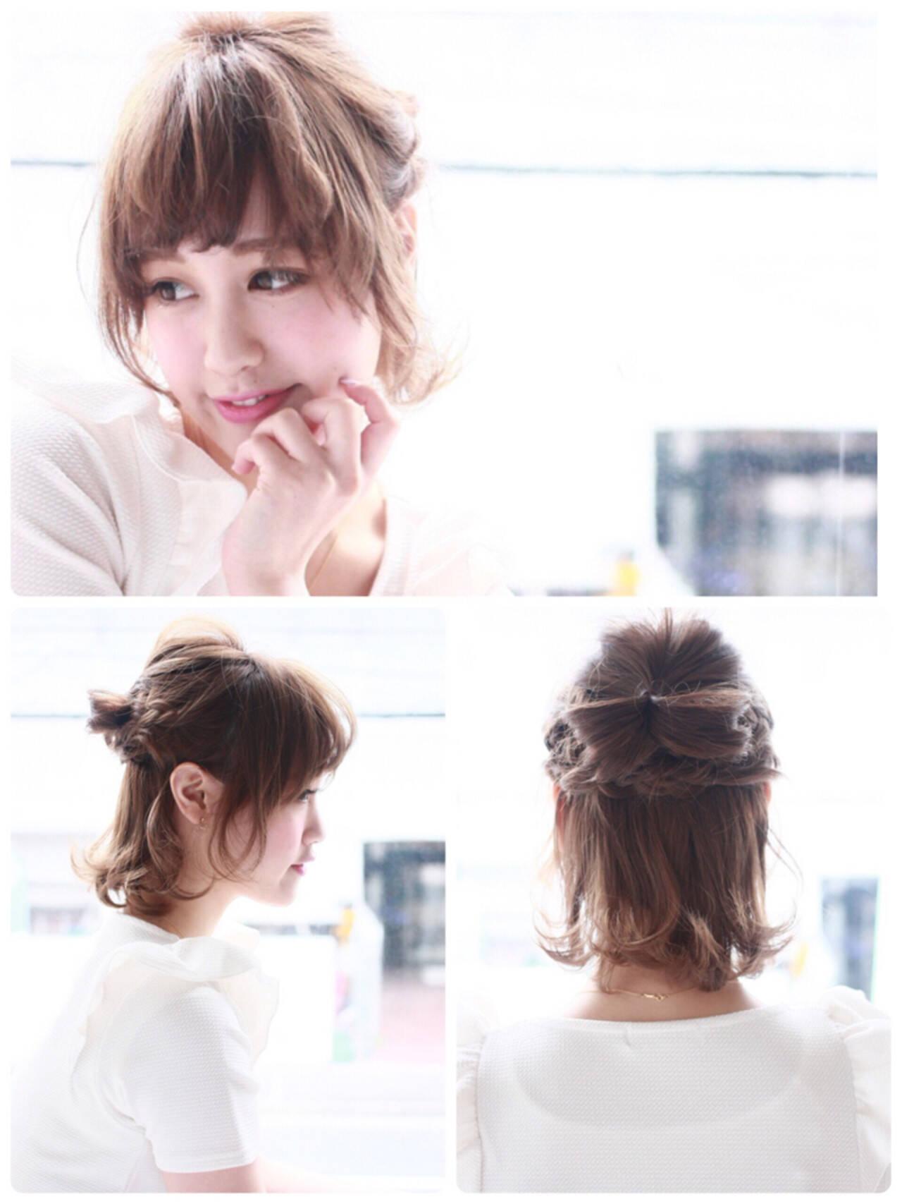 編み込み ヘアアレンジ 透明感 おフェロヘアスタイルや髪型の写真・画像