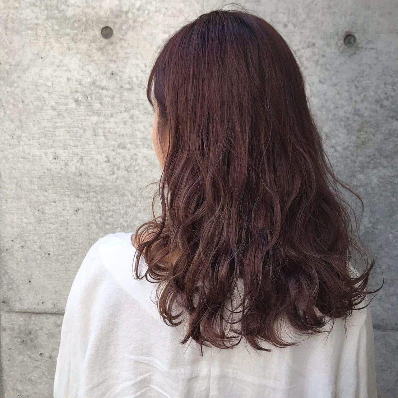 ガーリー セミロング ラベンダーピンク ヘアアレンジヘアスタイルや髪型の写真・画像