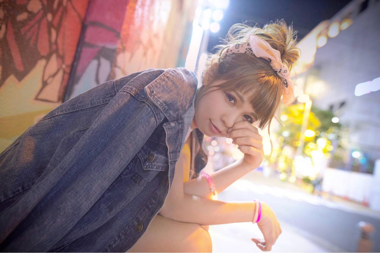 涼しげ ヘアアレンジ ミディアム 夏ヘアスタイルや髪型の写真・画像