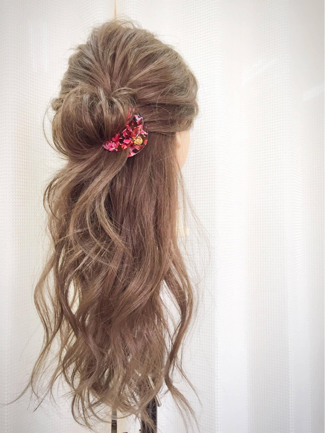 くせ毛風 ハーフアップ ショート 簡単ヘアアレンジヘアスタイルや髪型の写真・画像