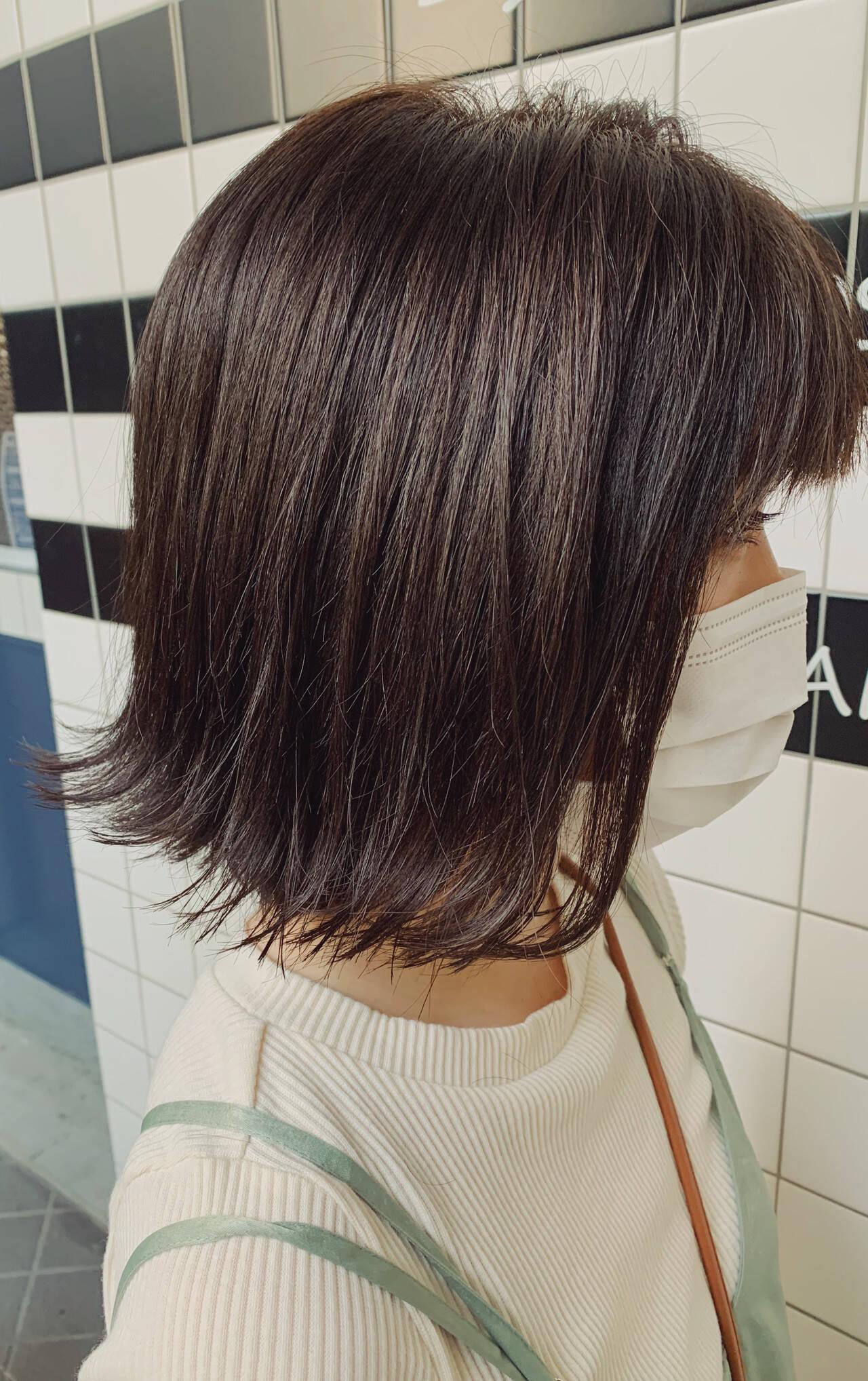 切りっぱなしボブ 透明感カラー ボブ アッシュヘアスタイルや髪型の写真・画像