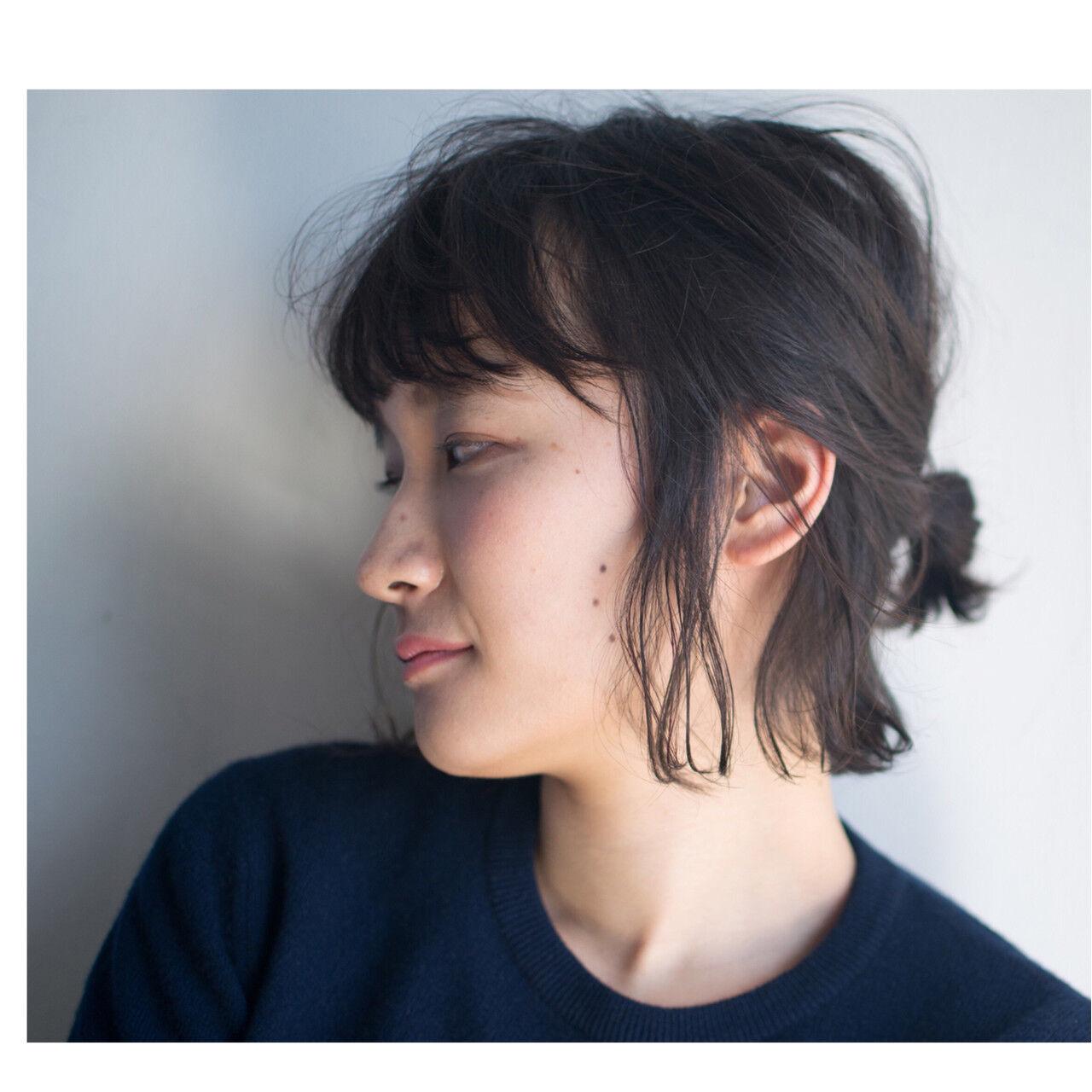 ショート ヘアアレンジ ナチュラル モードヘアスタイルや髪型の写真・画像