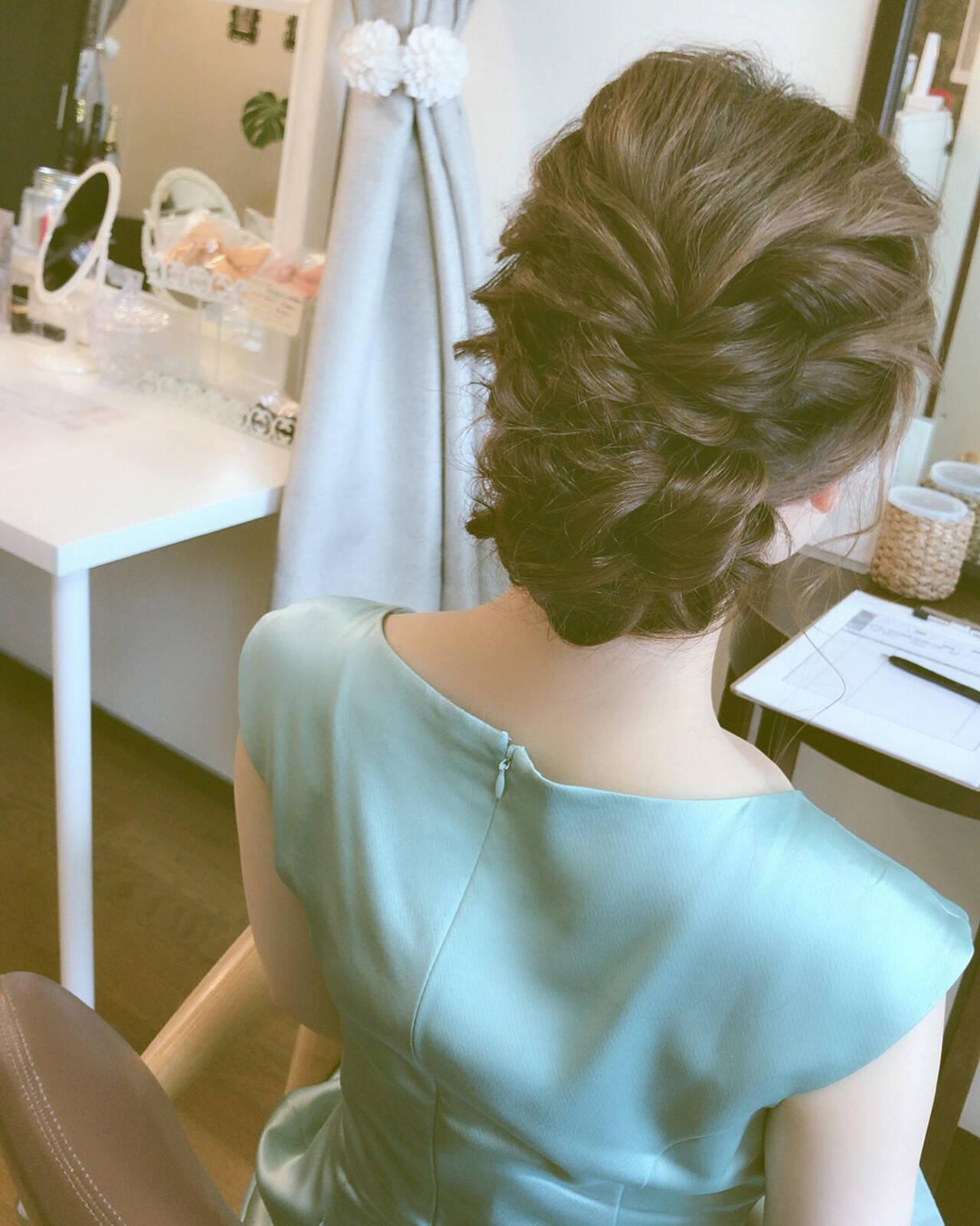結婚式 簡単ヘアアレンジ 上品 エレガントヘアスタイルや髪型の写真・画像