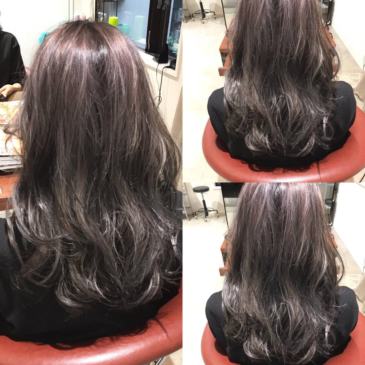 暗髪 ロング アッシュ ストリートヘアスタイルや髪型の写真・画像
