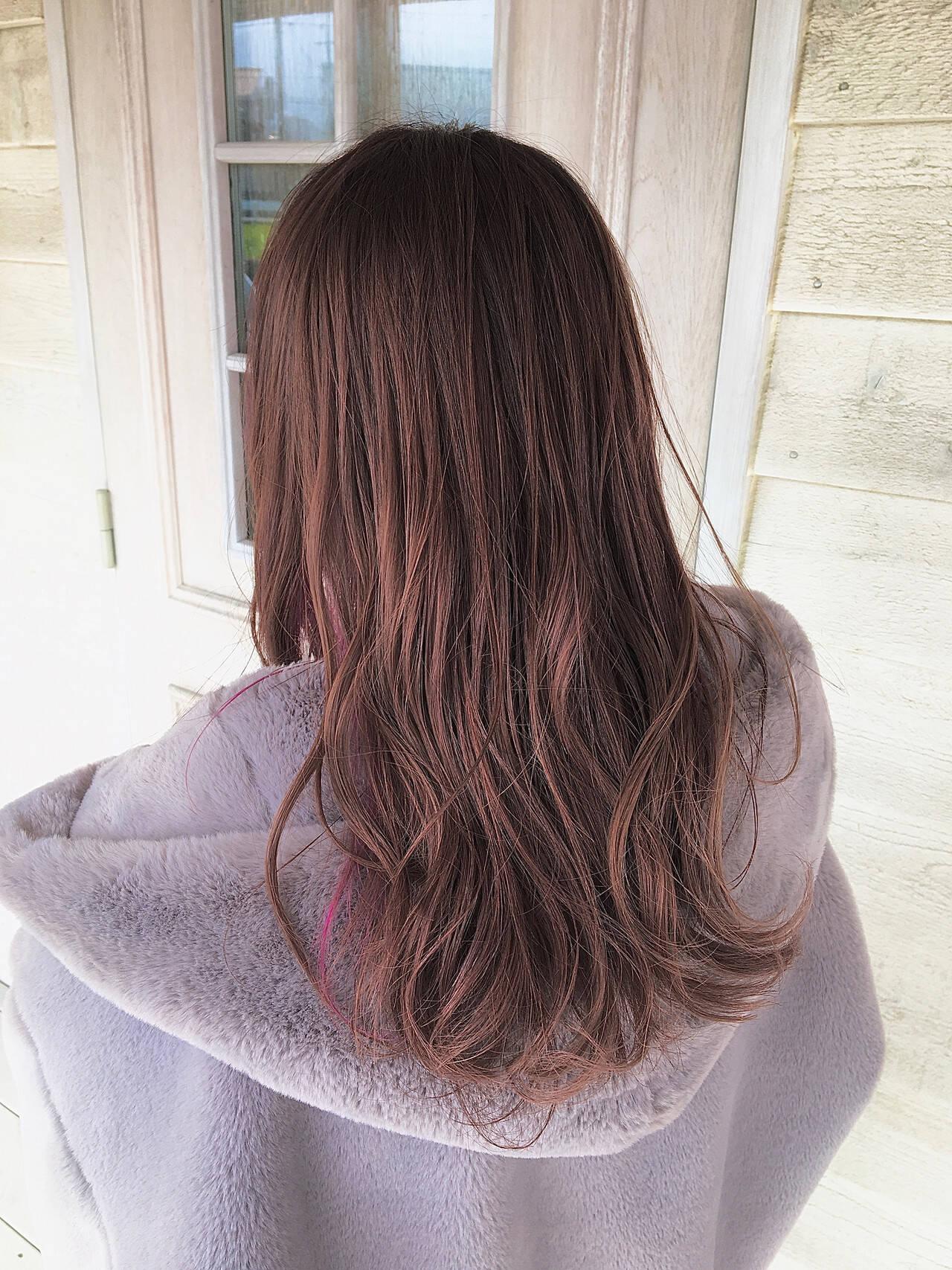 ピンク ロング ピンクパープル ピンクベージュヘアスタイルや髪型の写真・画像