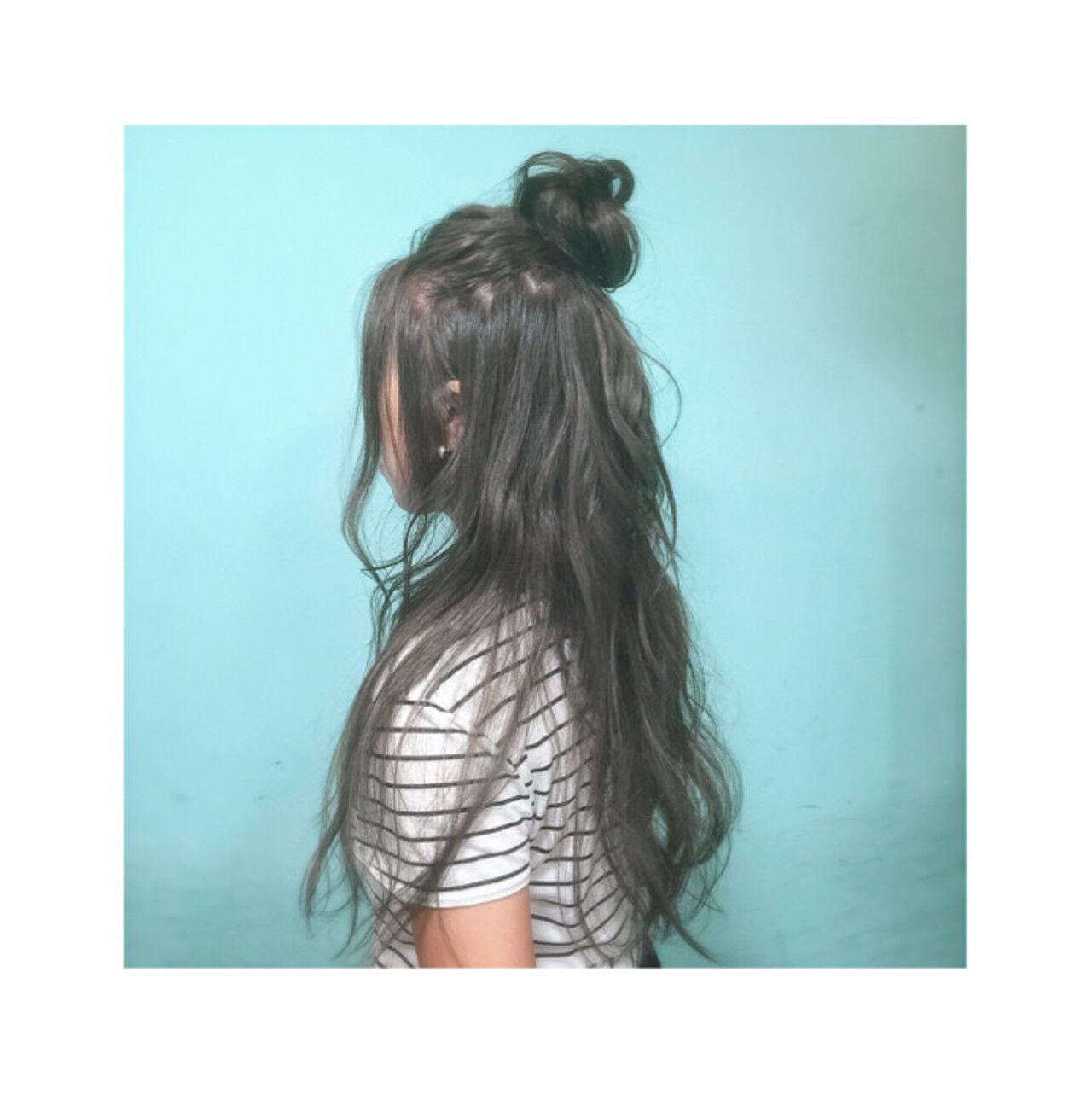 ロング ショート ハーフアップ 外国人風ヘアスタイルや髪型の写真・画像
