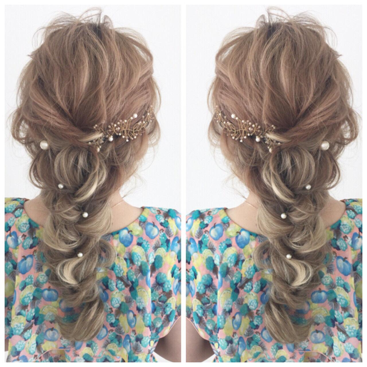 結婚式 簡単ヘアアレンジ ヘアアレンジ 花嫁ヘアスタイルや髪型の写真・画像