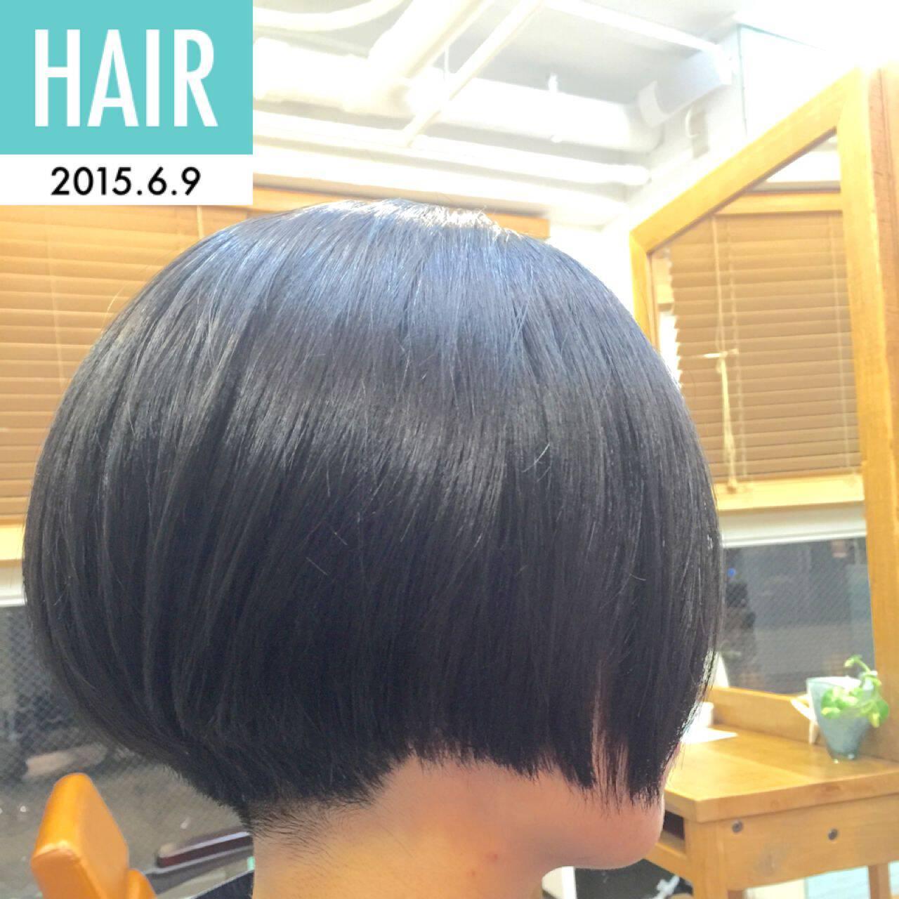 刈り上げ 黒髪 ボブ 卵型ヘアスタイルや髪型の写真・画像