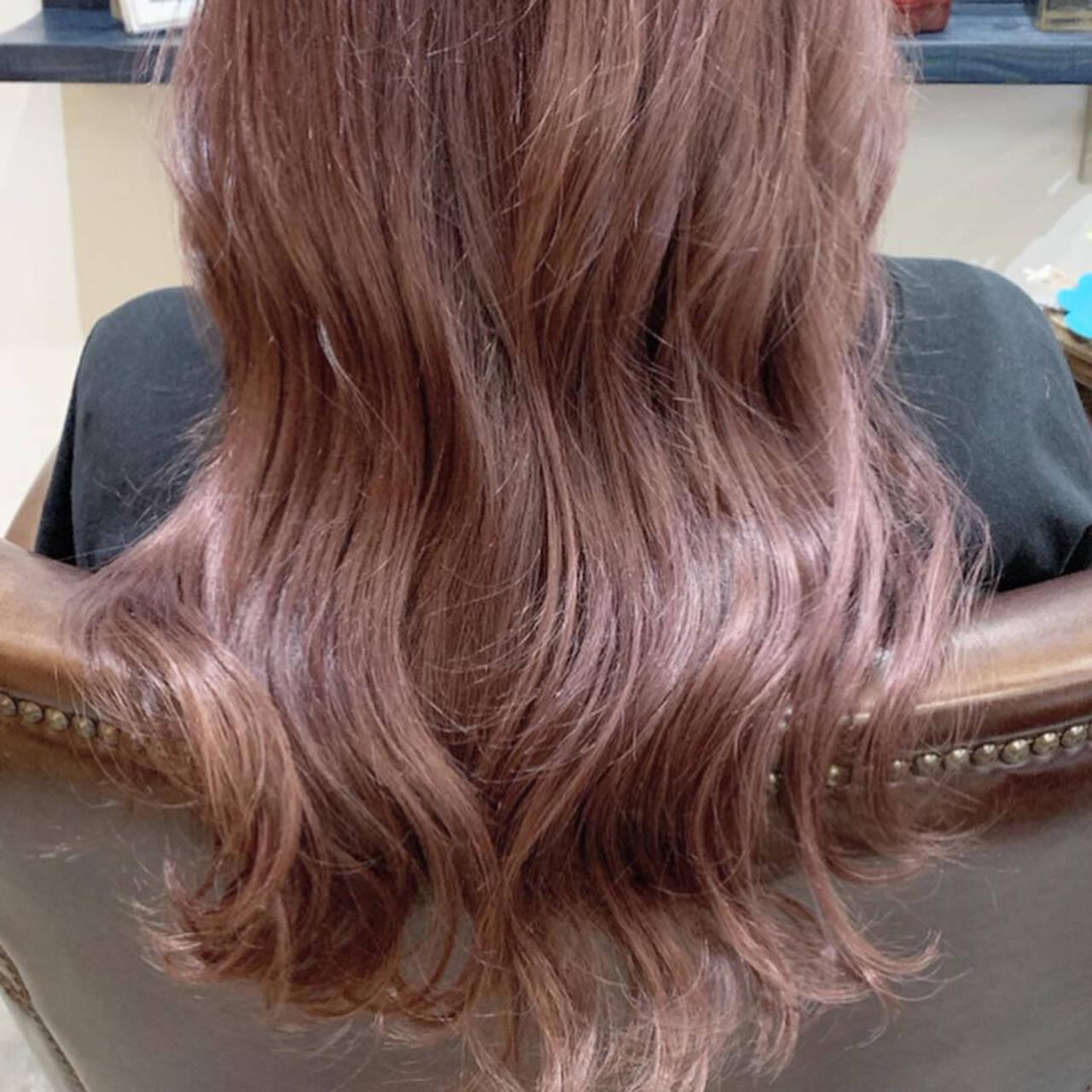 ピンク デザインカラー ラベンダーピンク ガーリーヘアスタイルや髪型の写真・画像