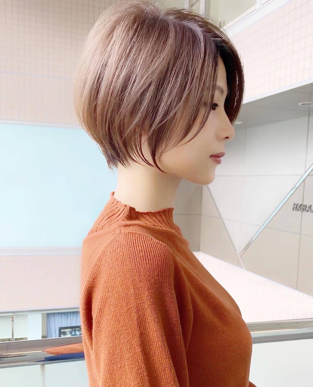 ひし形シルエット 大人可愛い ショート ショートボブヘアスタイルや髪型の写真・画像