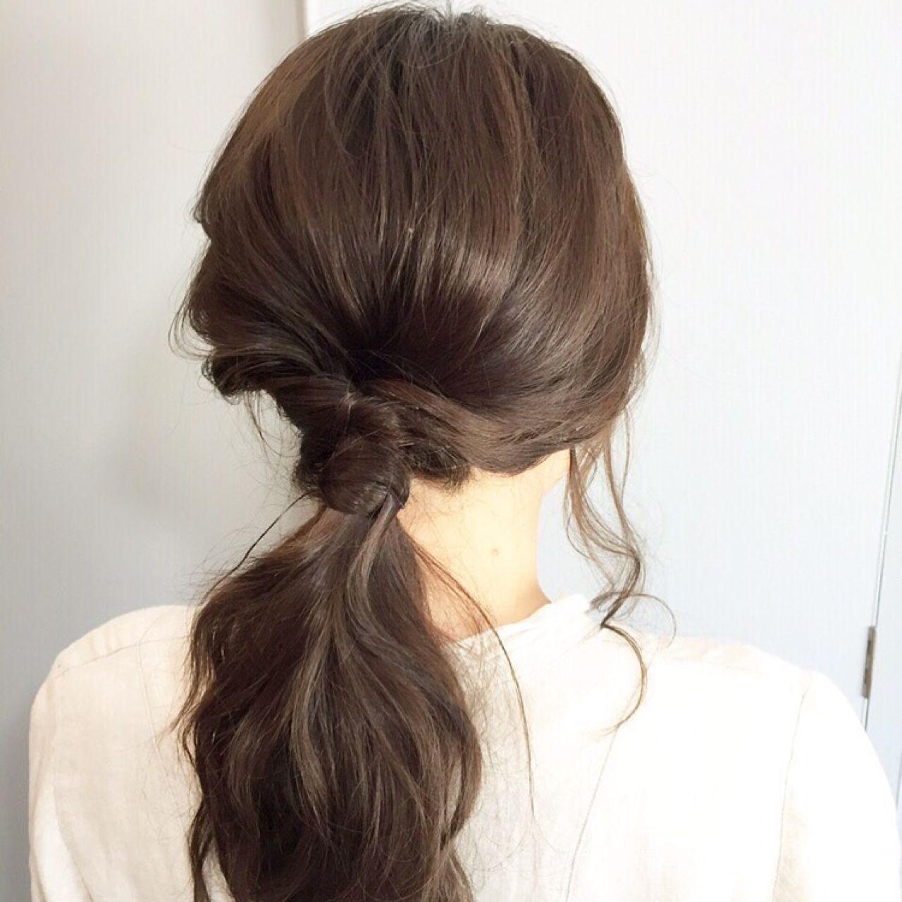 ゆるふわ セルフヘアアレンジ 時短 セミロングヘアスタイルや髪型の写真・画像