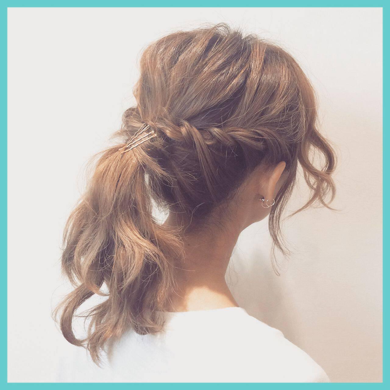 ナチュラル ポニーテール ヘアアレンジ ミディアムヘアスタイルや髪型の写真・画像
