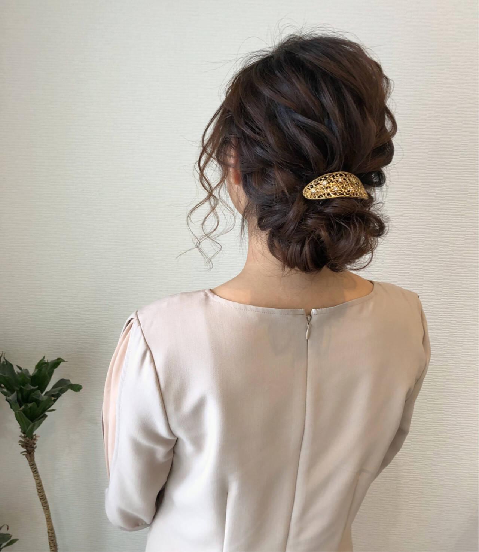 フェミニン 編み込み セミロング ヘアアレンジヘアスタイルや髪型の写真・画像