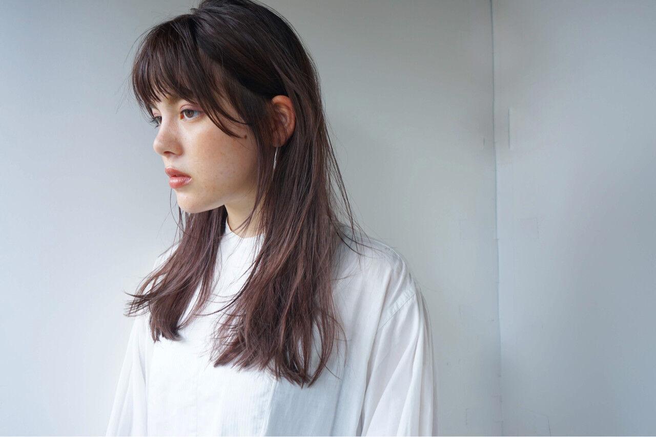 ロング 女子力 オン眉 セミロングヘアスタイルや髪型の写真・画像