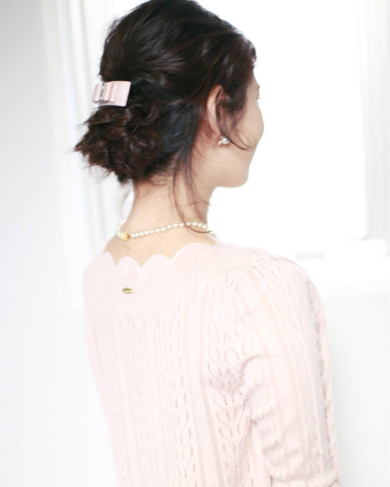 ショート 大人かわいい フェミニン ヘアアレンジヘアスタイルや髪型の写真・画像