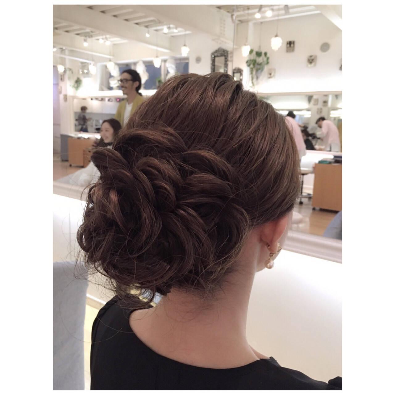ヘアアレンジ ボブ ローズ ナチュラルヘアスタイルや髪型の写真・画像