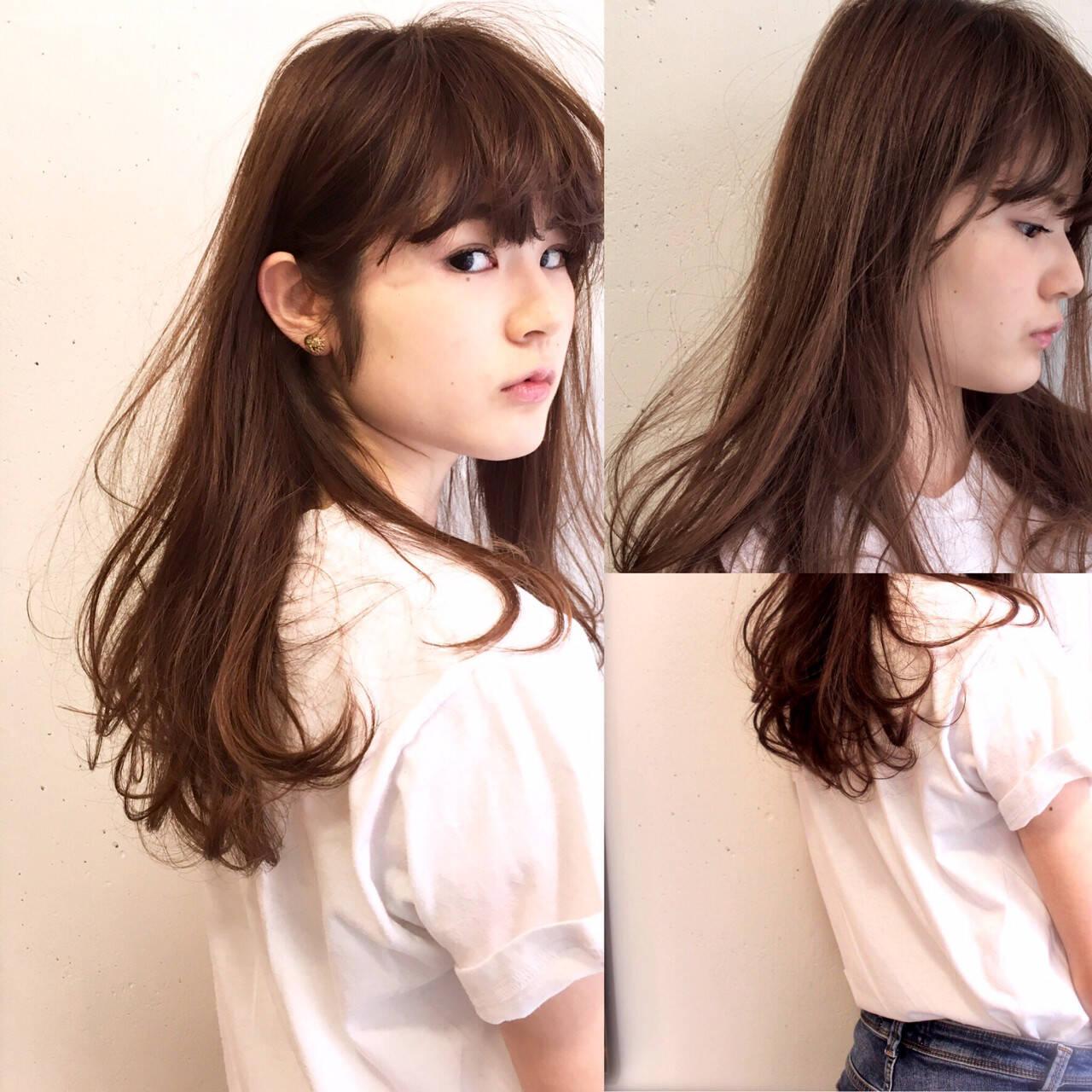 ロング パーマ ハイライト アッシュヘアスタイルや髪型の写真・画像