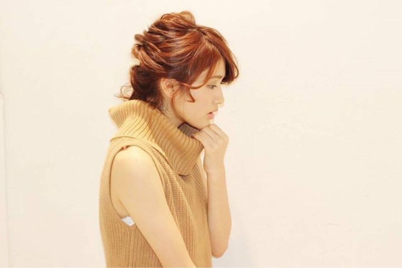 ヘアアレンジ 丸顔 ガーリー くるりんぱヘアスタイルや髪型の写真・画像