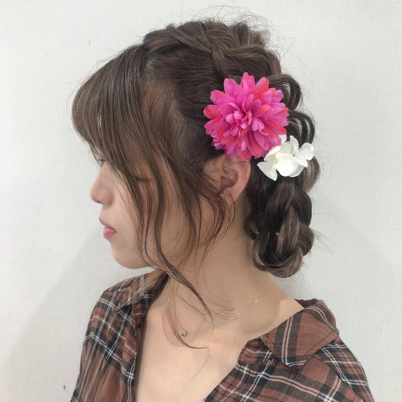 三つ編み 浴衣ヘア 簡単ヘアアレンジ ヘアアレンジヘアスタイルや髪型の写真・画像