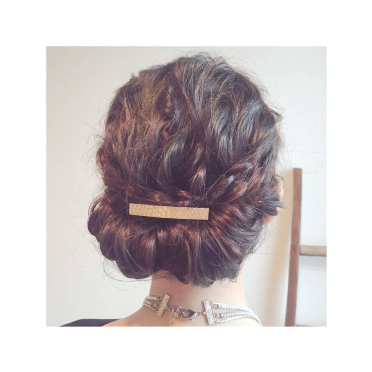 パーティ ギブソンタック 外国人風 セミロングヘアスタイルや髪型の写真・画像